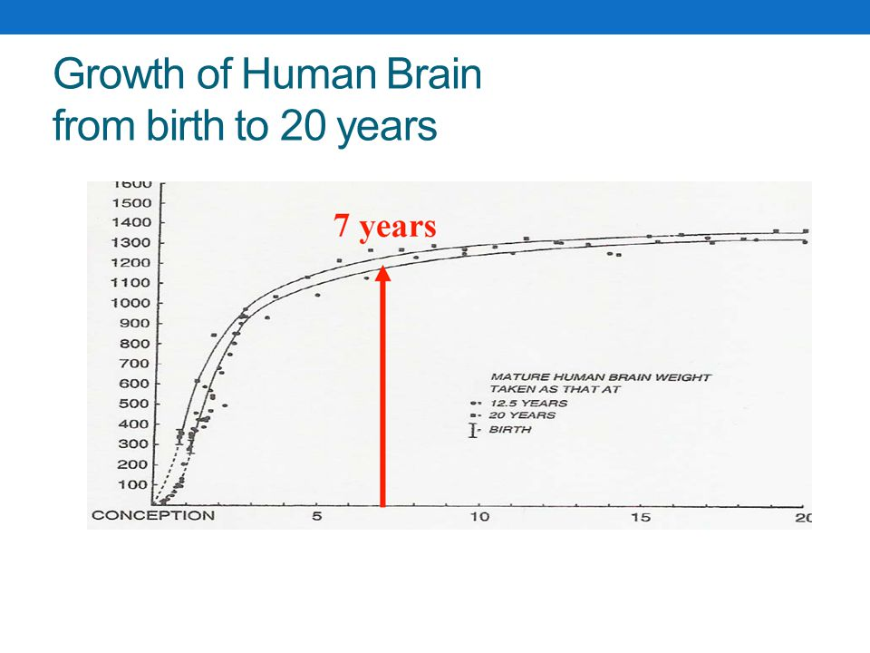 Growth of Human Brain from birth to 20 years