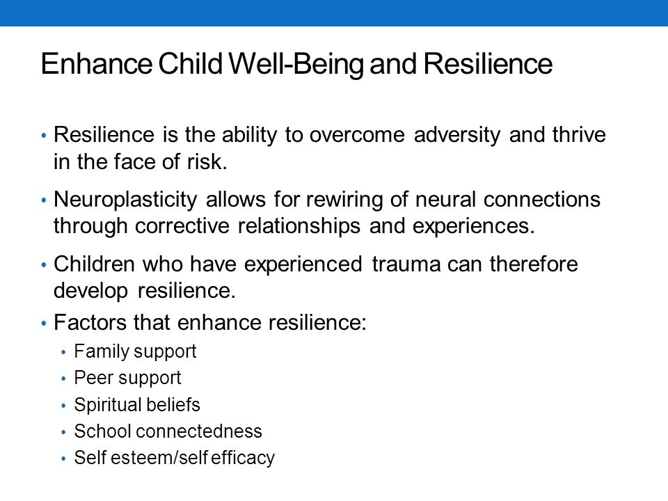 Enhance Child Well-Being and Resilience