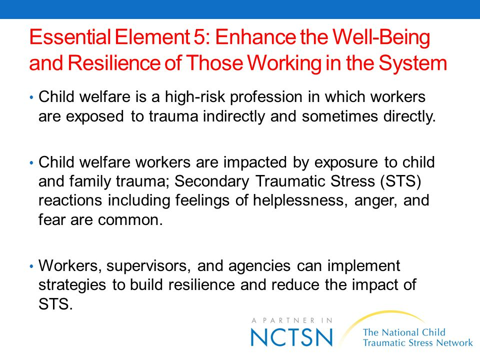 Essential Element 5: Enhance the Well-Being and Resilience of Those Working in the System