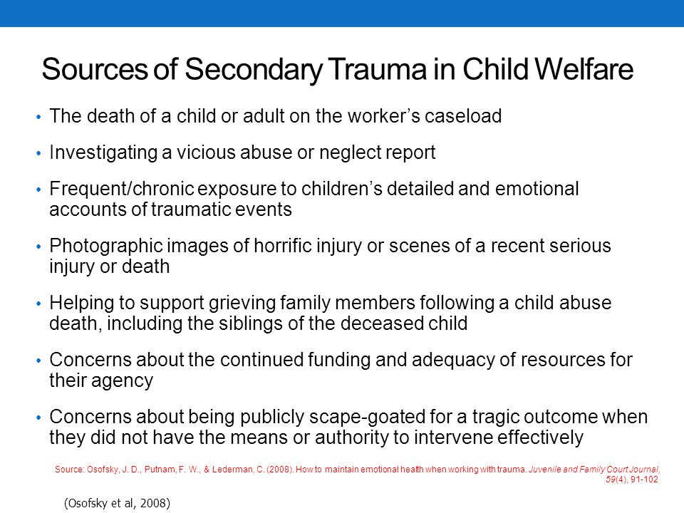 Sources of Secondary Trauma in Child Welfare