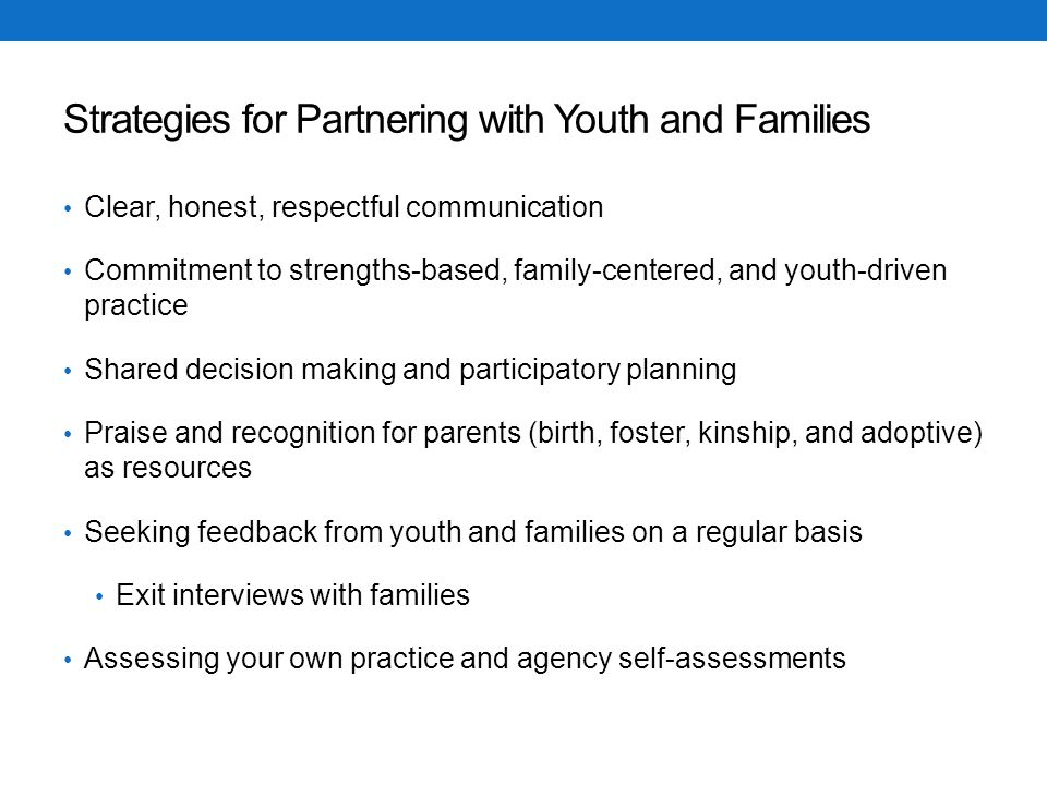 Strategies for Partnering with Youth and Families