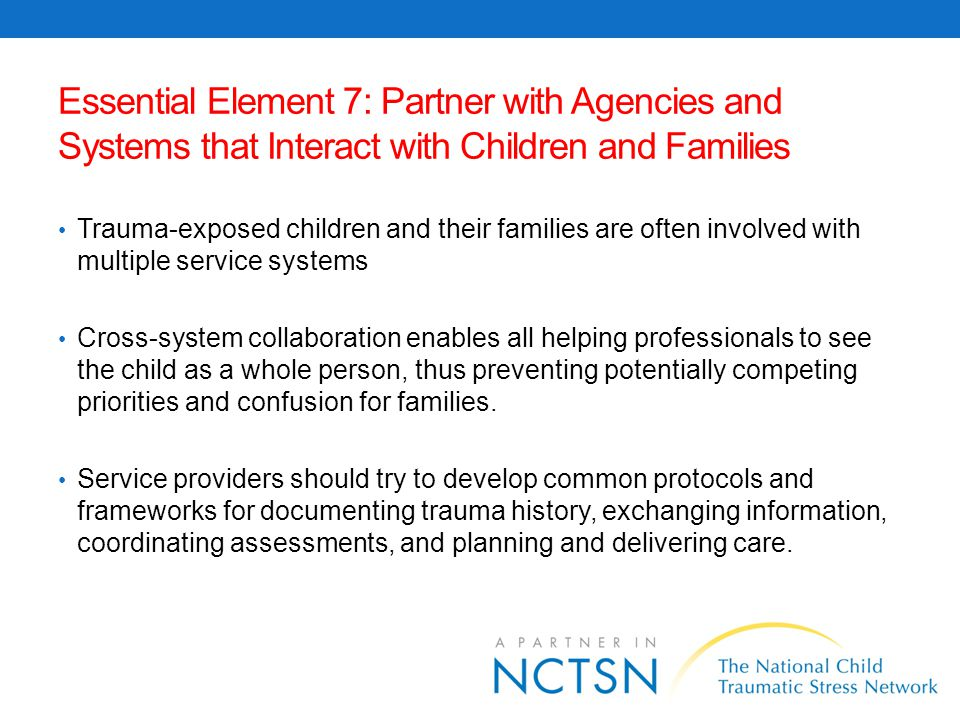 Essential Element 7: Partner with Agencies and Systems that Interact with Children and Families