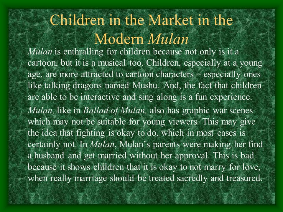 Children in the Market in the Modern Mulan