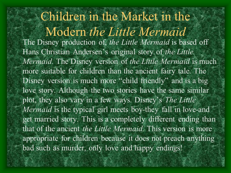 Children in the Market in the Modern the Little Mermaid