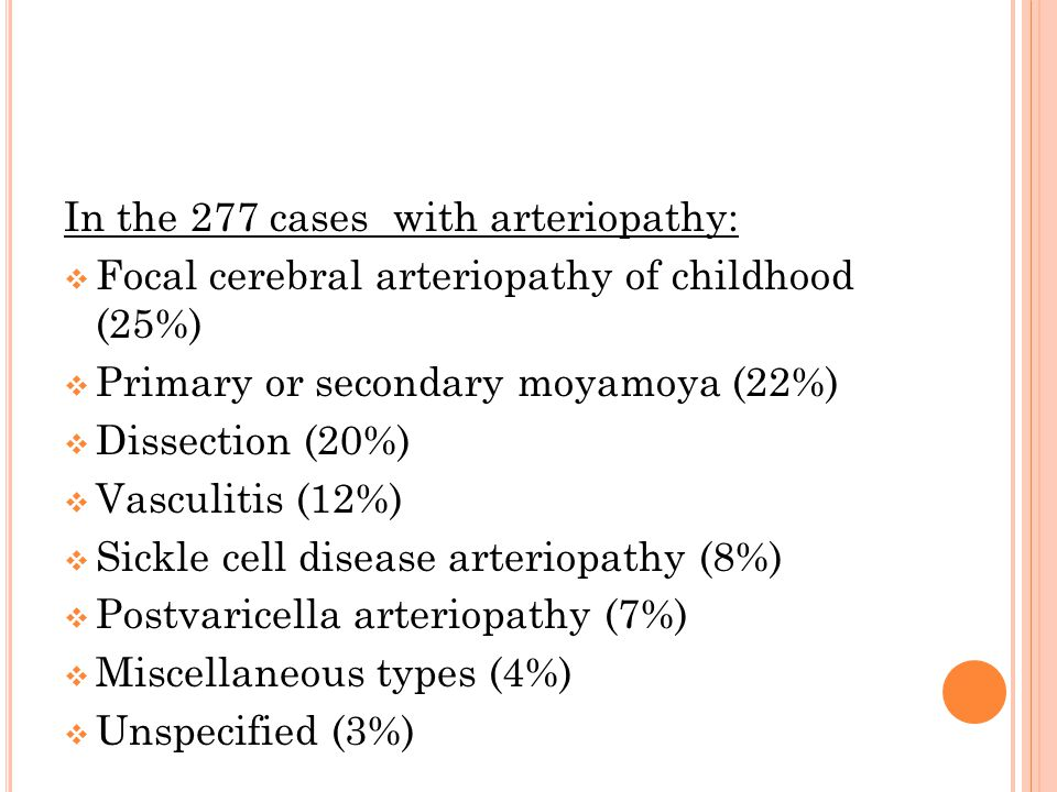 In the 277 cases with arteriopathy: