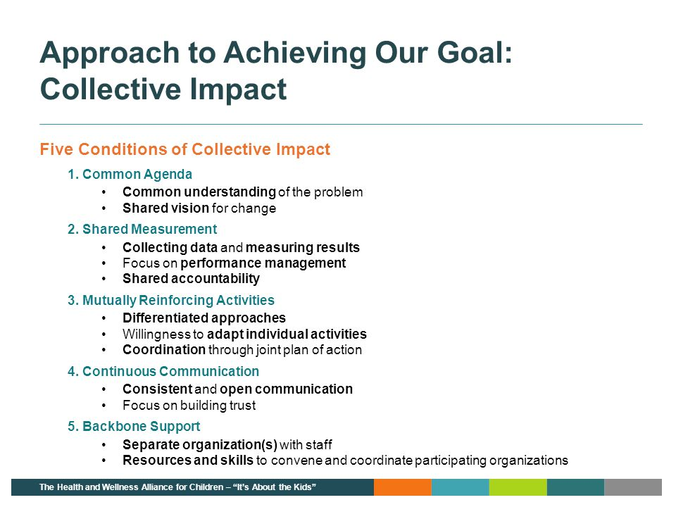 Approach to Achieving Our Goal: Collective Impact