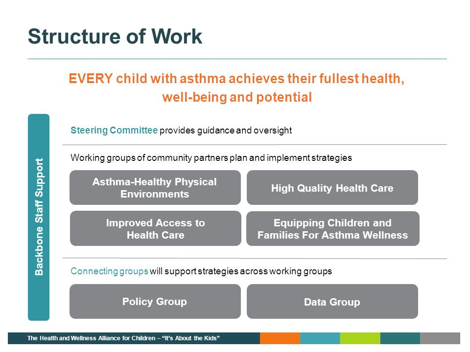 Structure of Work EVERY child with asthma achieves their fullest health, well-being and potential.