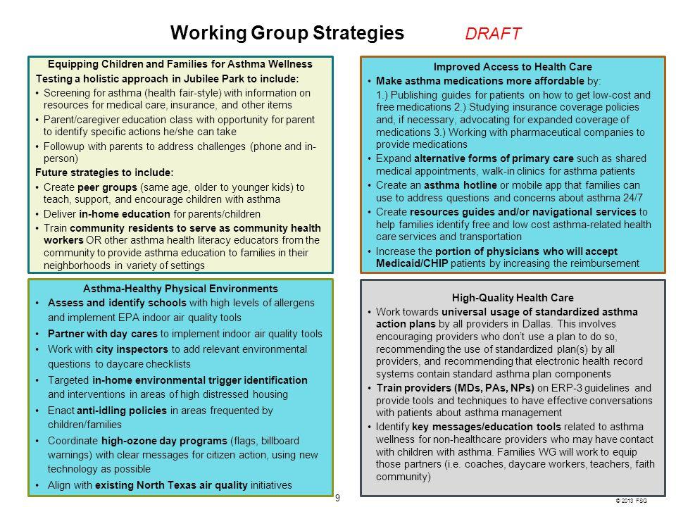 Working Group Strategies DRAFT