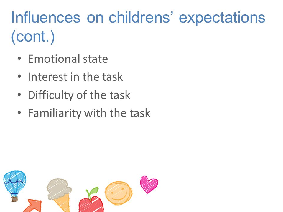 Influences on childrens' expectations (cont.)