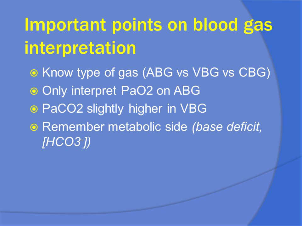 Important points on blood gas interpretation