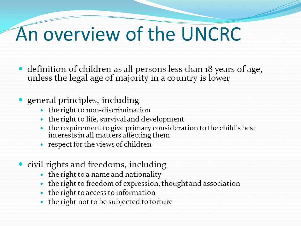 An overview of the UNCRC