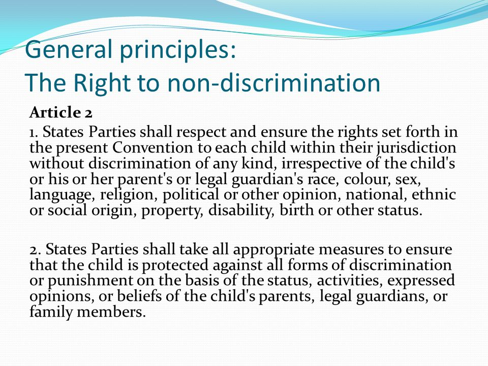 General principles: The Right to non-discrimination