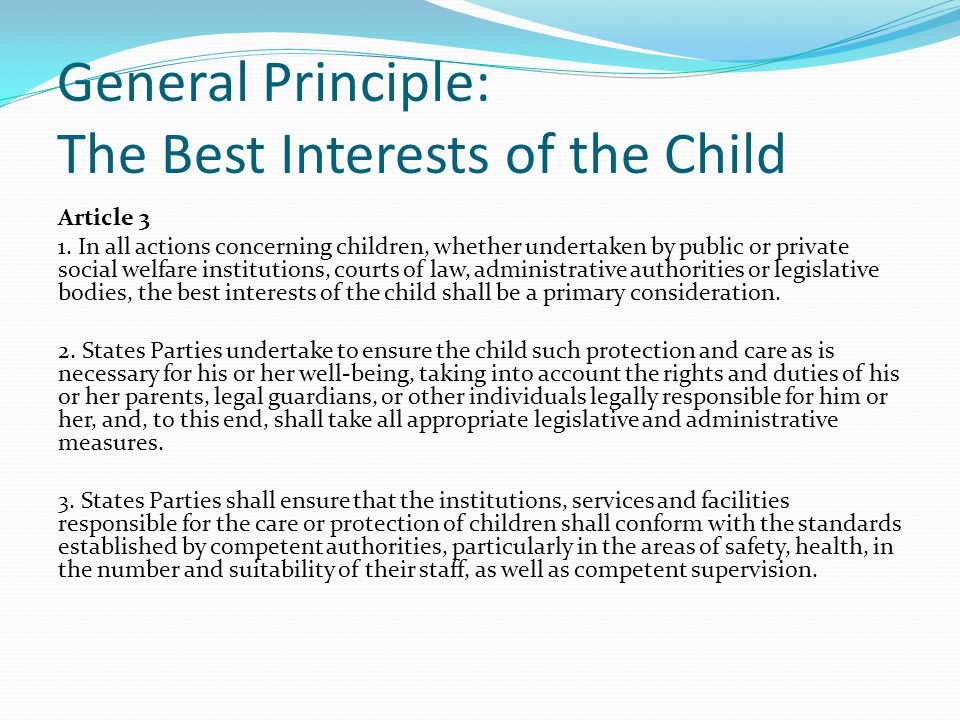 General Principle: The Best Interests of the Child
