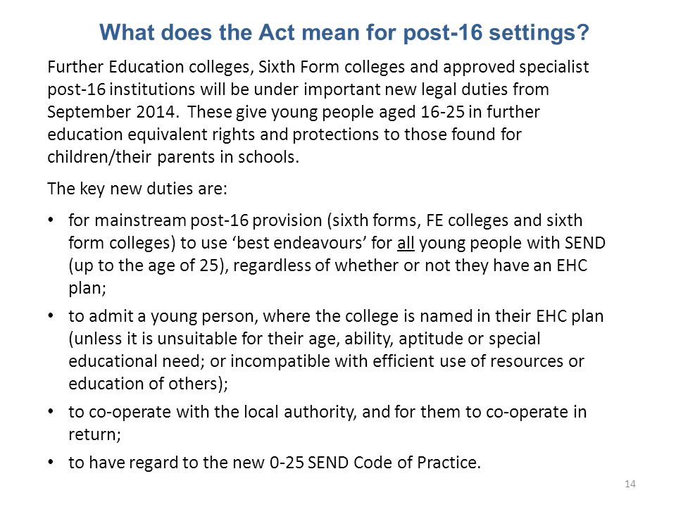 What does the Act mean for post-16 settings