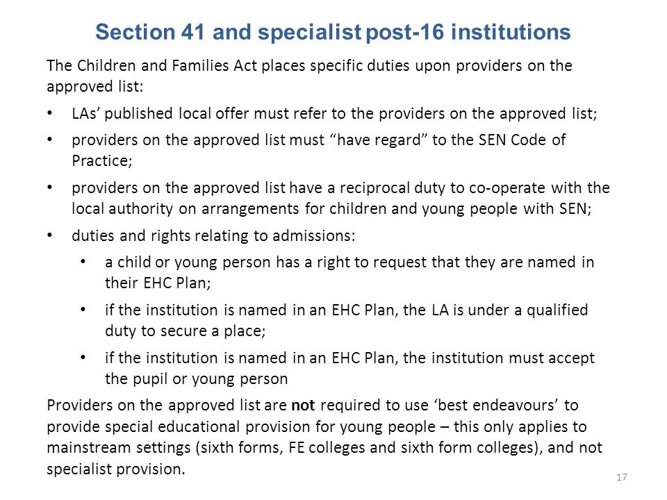 Section 41 and specialist post-16 institutions