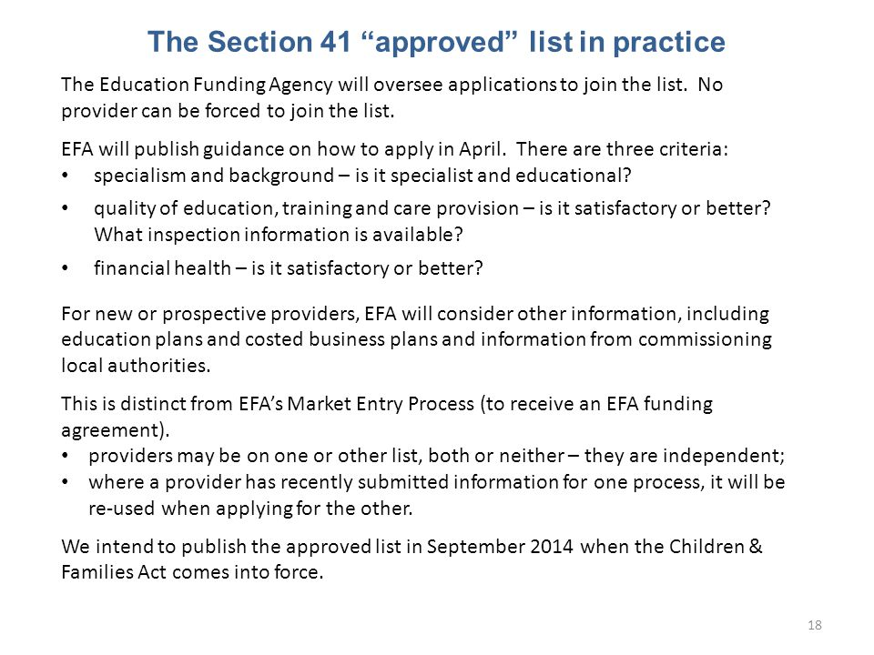 The Section 41 approved list in practice