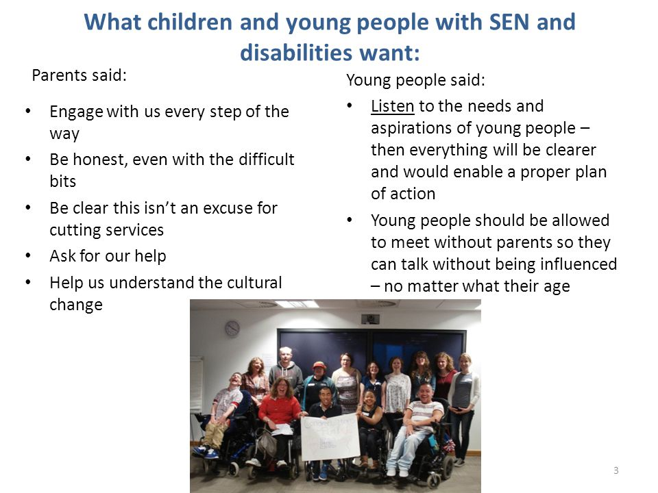 What children and young people with SEN and disabilities want:
