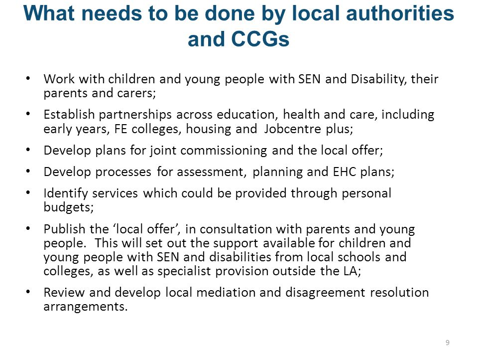 What needs to be done by local authorities and CCGs