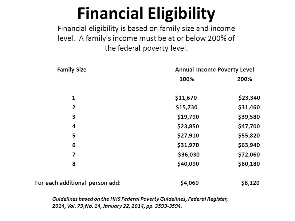 Financial Eligibility Financial eligibility is based on family size and income level. A family s income must be at or below 200% of the federal poverty level.