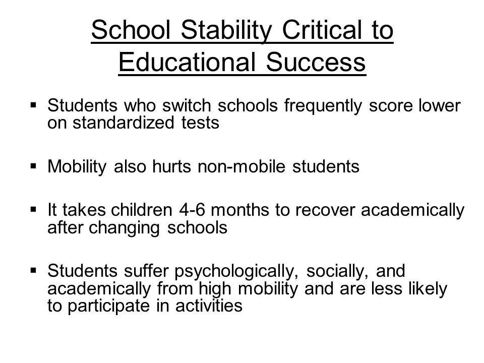 School Stability Critical to Educational Success