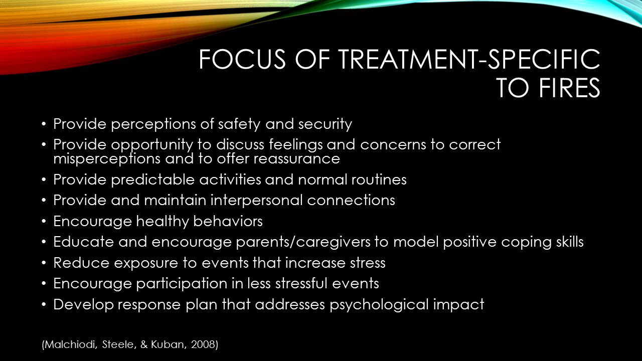 Focus of treatment-specific to fires