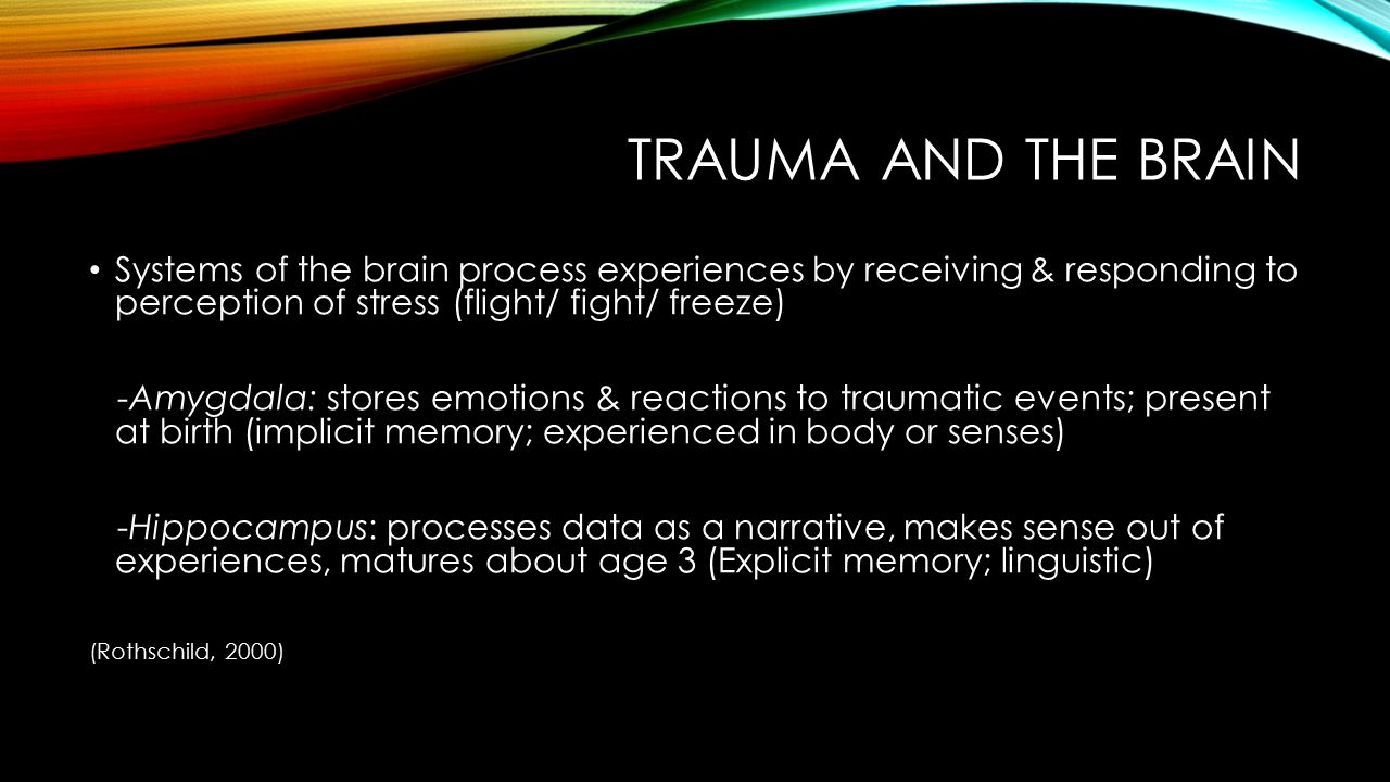 Trauma and the brain Systems of the brain process experiences by receiving & responding to perception of stress (flight/ fight/ freeze)