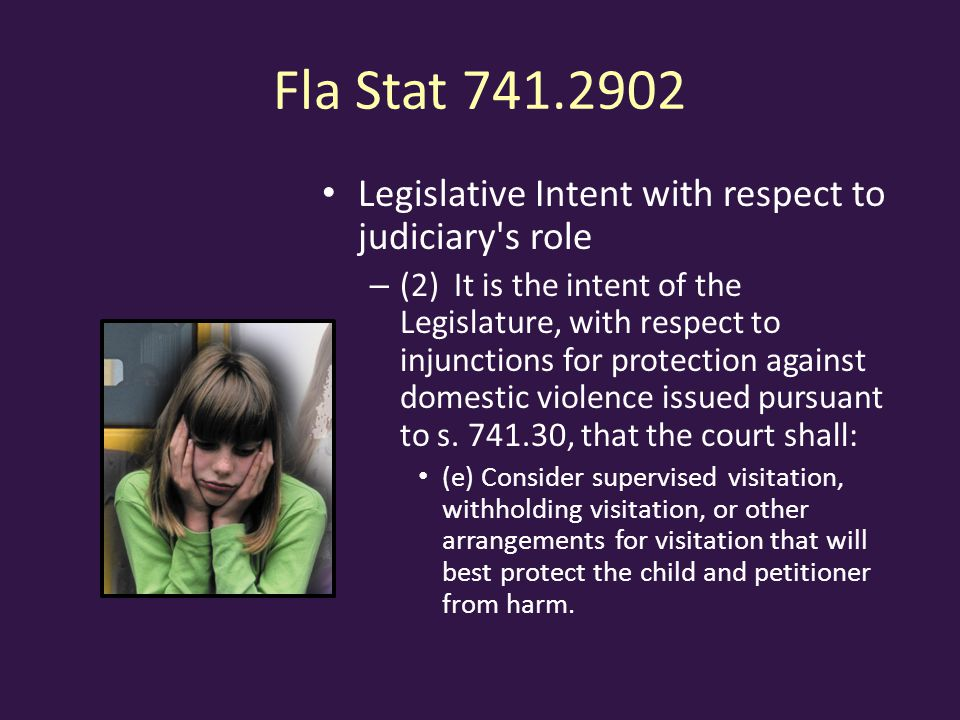 Fla Stat Legislative Intent with respect to judiciary s role