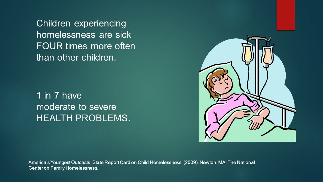 Children experiencing homelessness are sick FOUR times more often