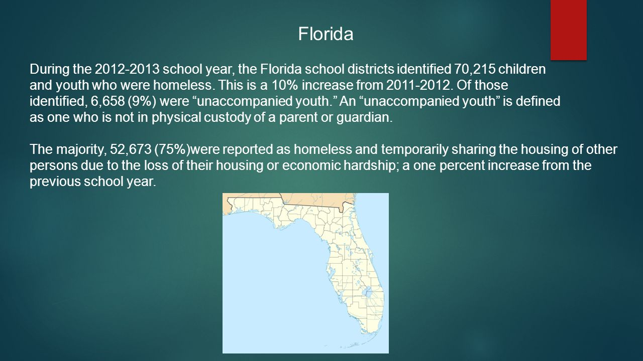 Florida During the 2012-2013 school year, the Florida school districts identified 70,215 children.