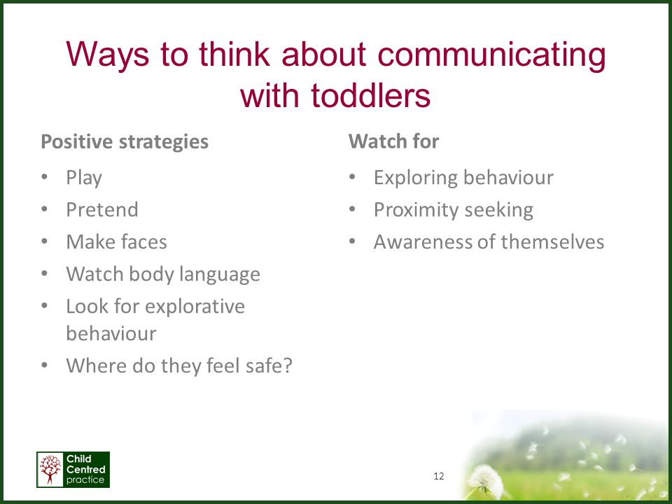 Ways to think about communicating with toddlers