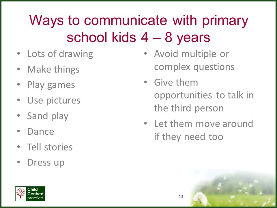 Ways to communicate with primary school kids 4 – 8 years