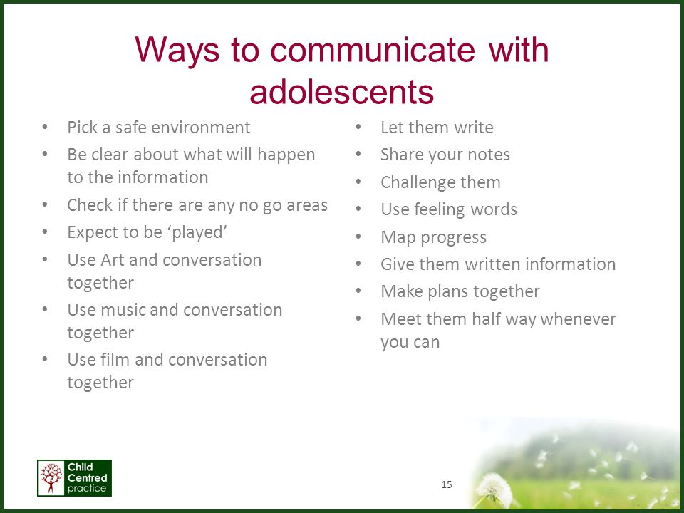 Ways to communicate with adolescents