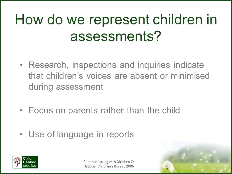 How do we represent children in assessments
