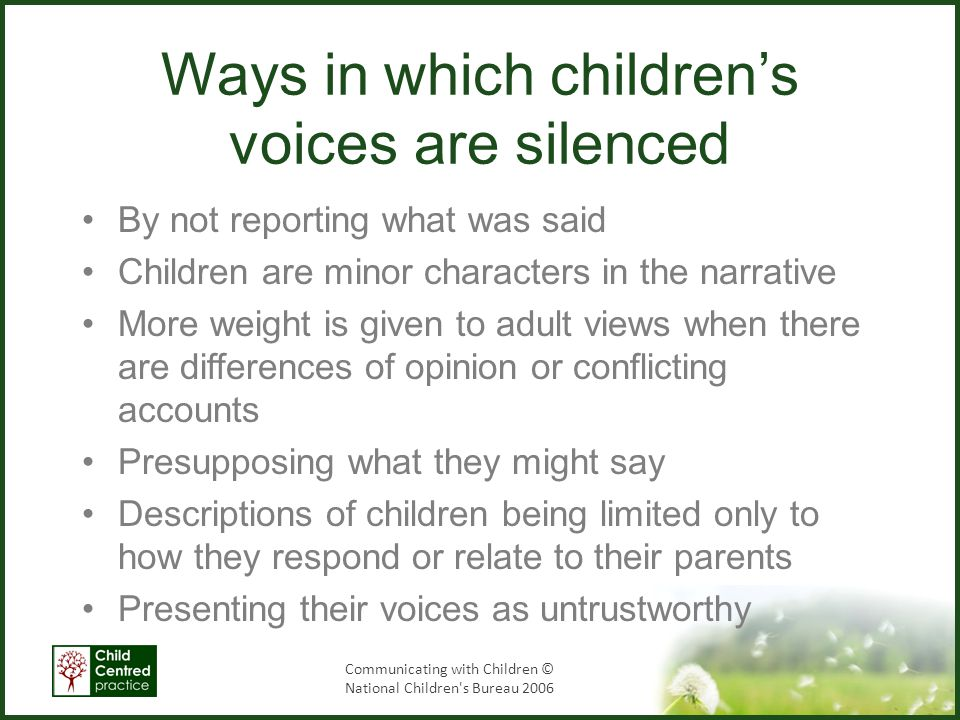 Ways in which children's voices are silenced