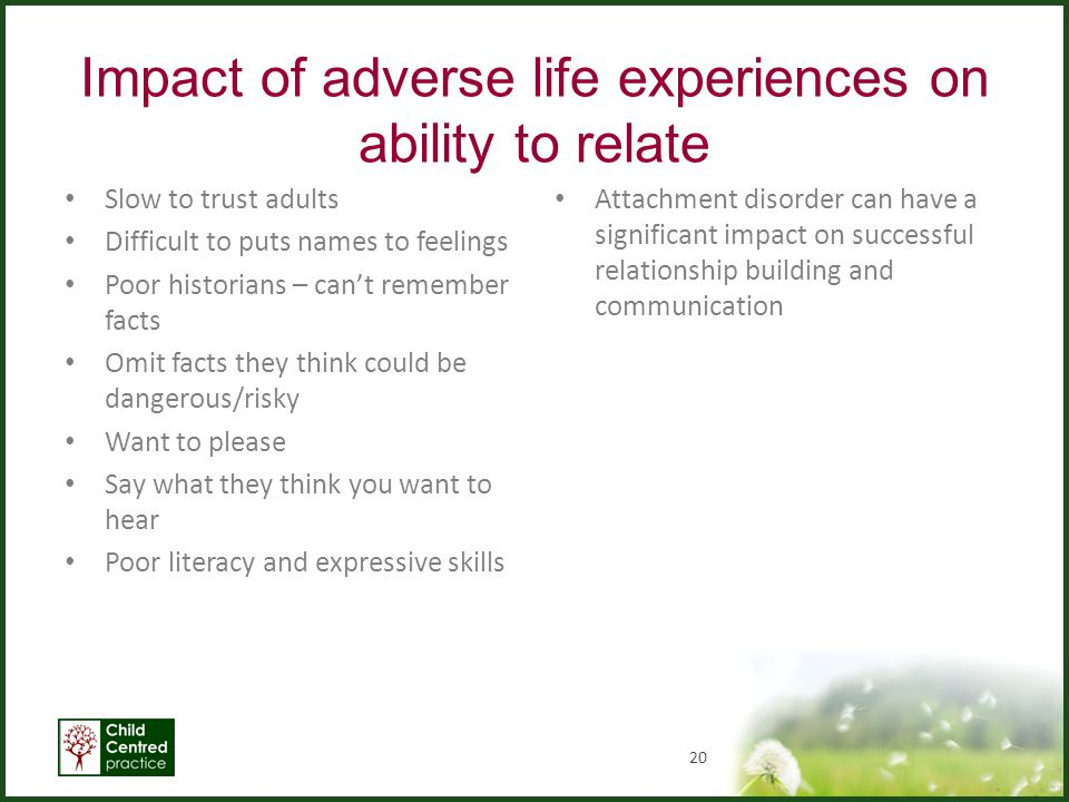 Impact of adverse life experiences on ability to relate