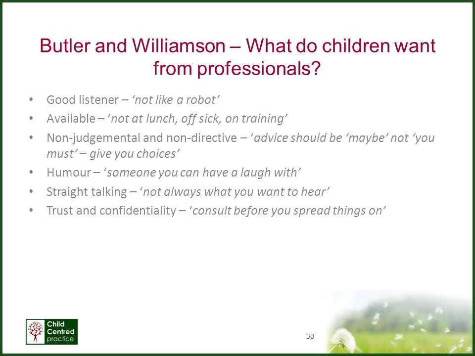 Butler and Williamson – What do children want from professionals