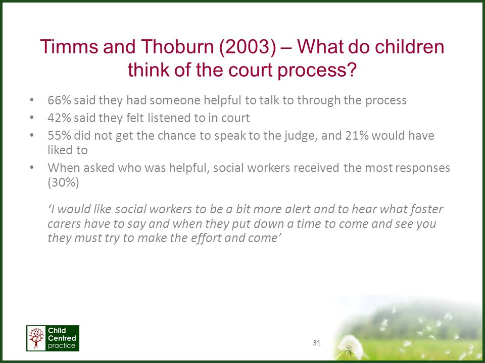 Timms and Thoburn (2003) – What do children think of the court process