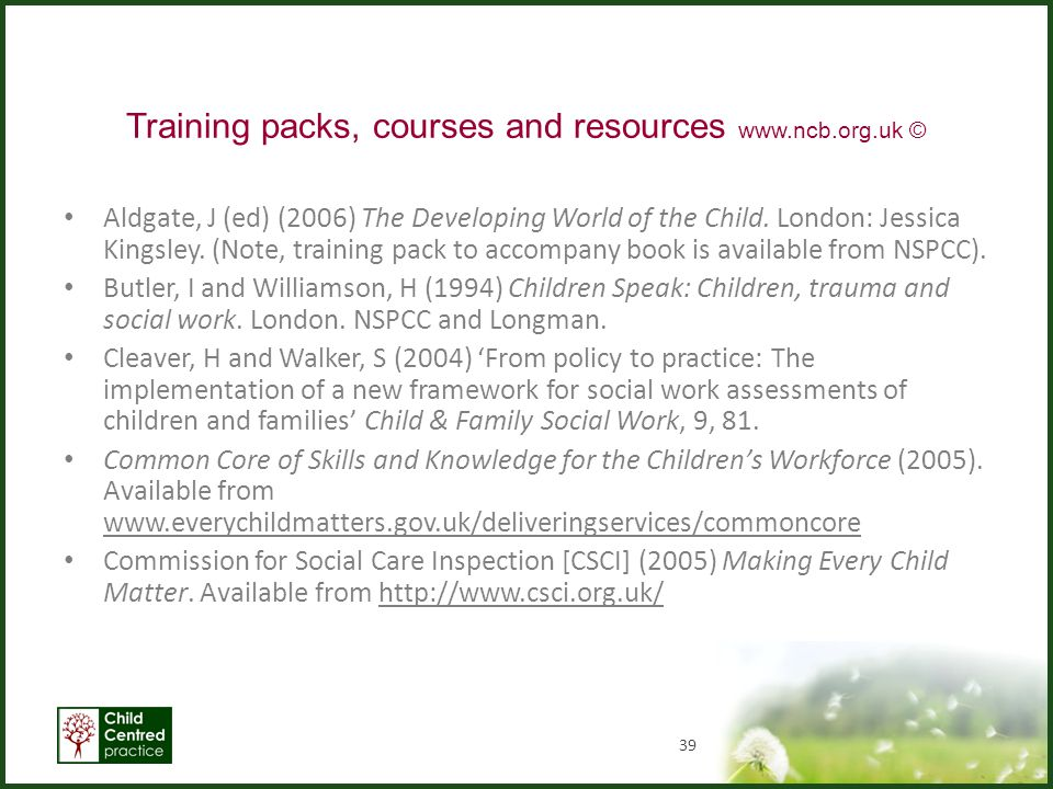 Training packs, courses and resources www.ncb.org.uk ©