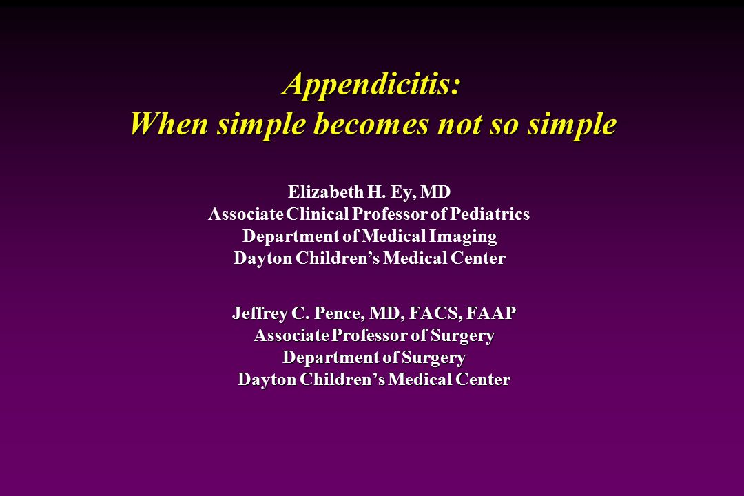 Appendicitis: When simple becomes not so simple