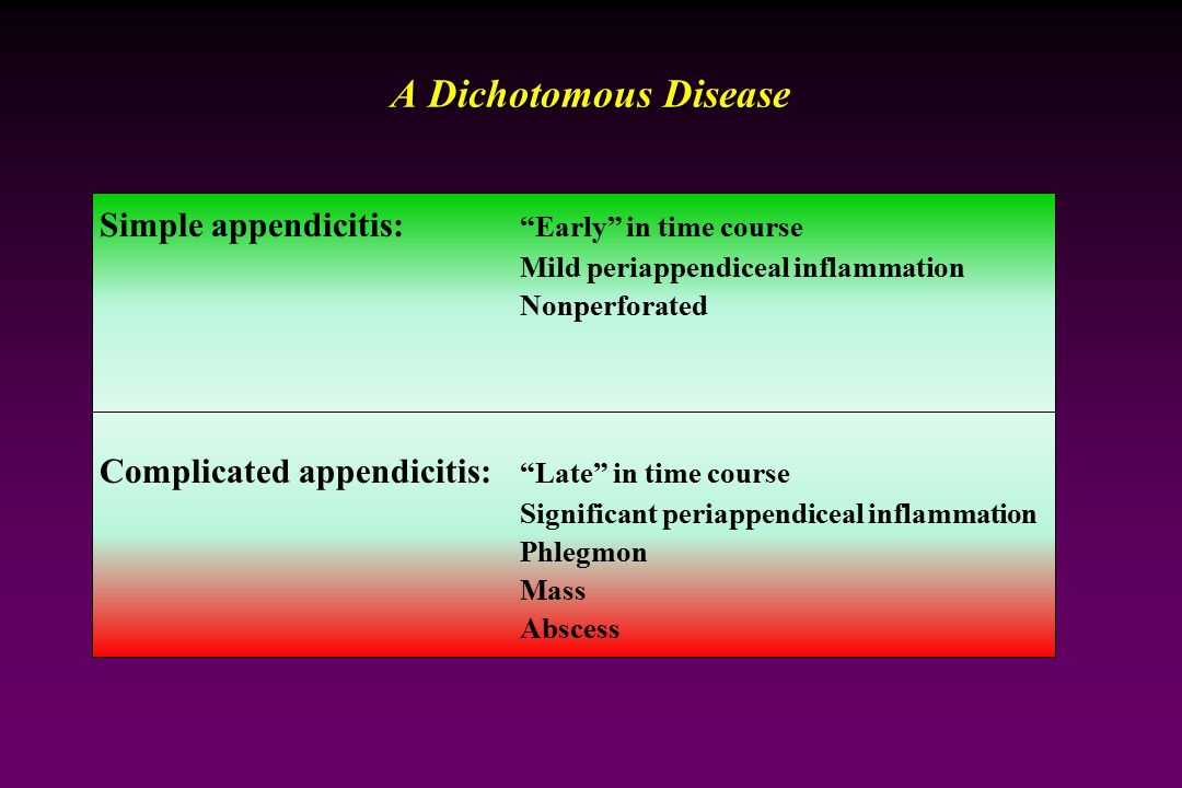 A Dichotomous Disease Simple appendicitis: Early in time course