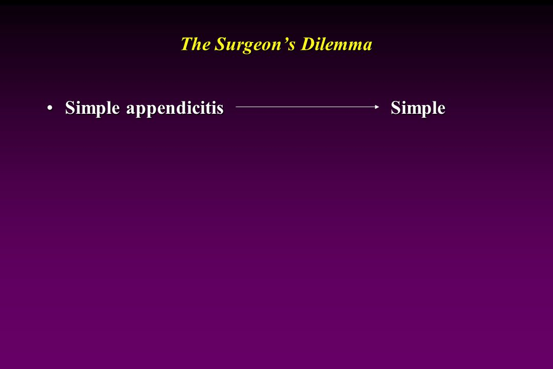 The Surgeon's Dilemma Simple appendicitis Simple