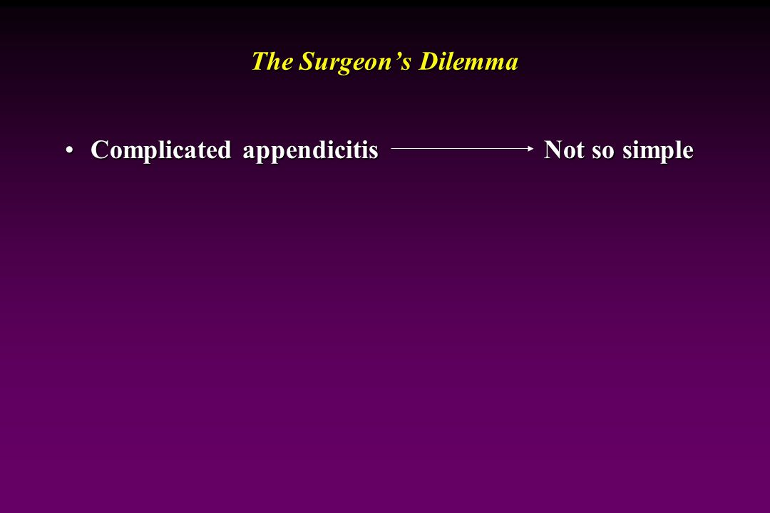 The Surgeon's Dilemma Complicated appendicitis Not so simple
