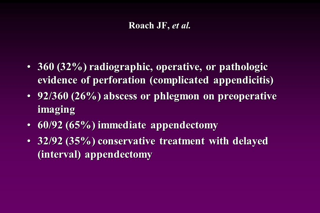 92/360 (26%) abscess or phlegmon on preoperative imaging