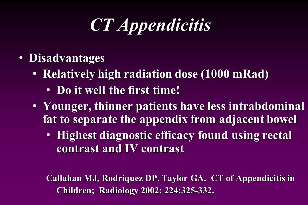 CT Appendicitis Disadvantages