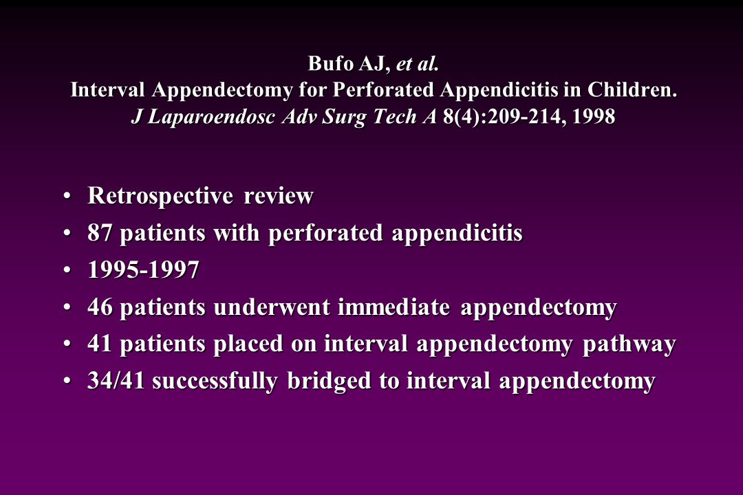 87 patients with perforated appendicitis 1995-1997