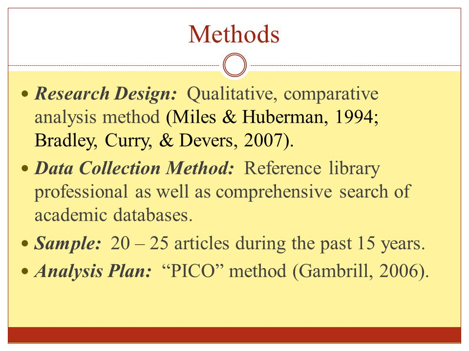 Methods Research Design: Qualitative, comparative analysis method (Miles & Huberman, 1994; Bradley, Curry, & Devers, 2007).