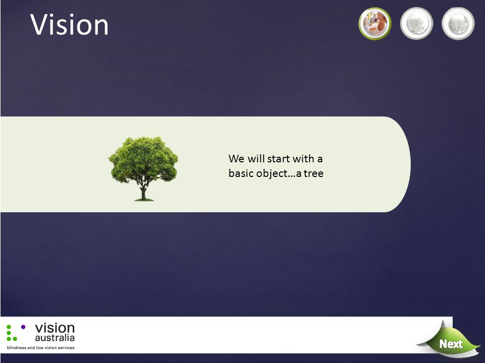 Vision We will start with a basic object…a tree Next Next