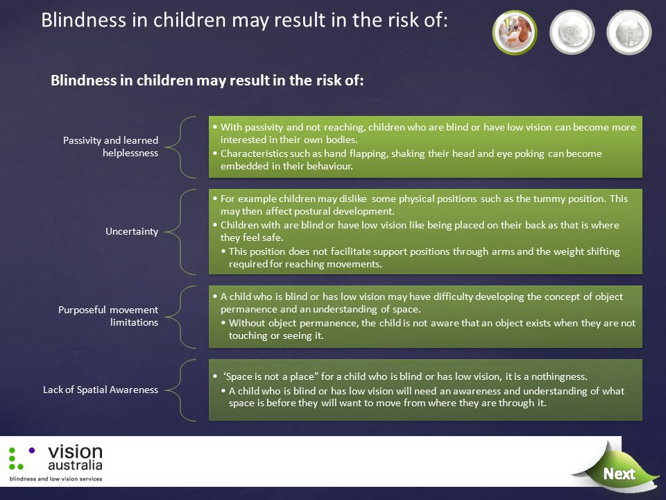 Next Blindness in children may result in the risk of: