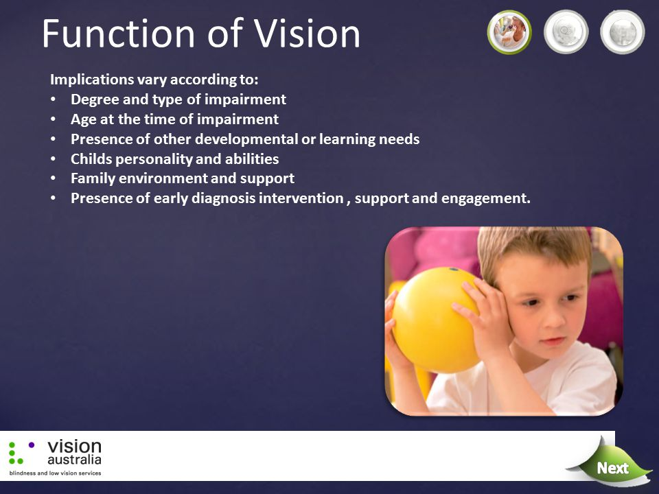 Function of Vision Next Implications vary according to: