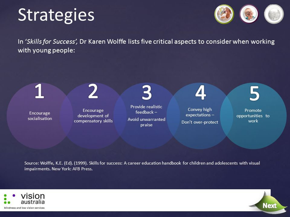 Strategies In 'Skills for Success', Dr Karen Wolffe lists five critical aspects to consider when working with young people: